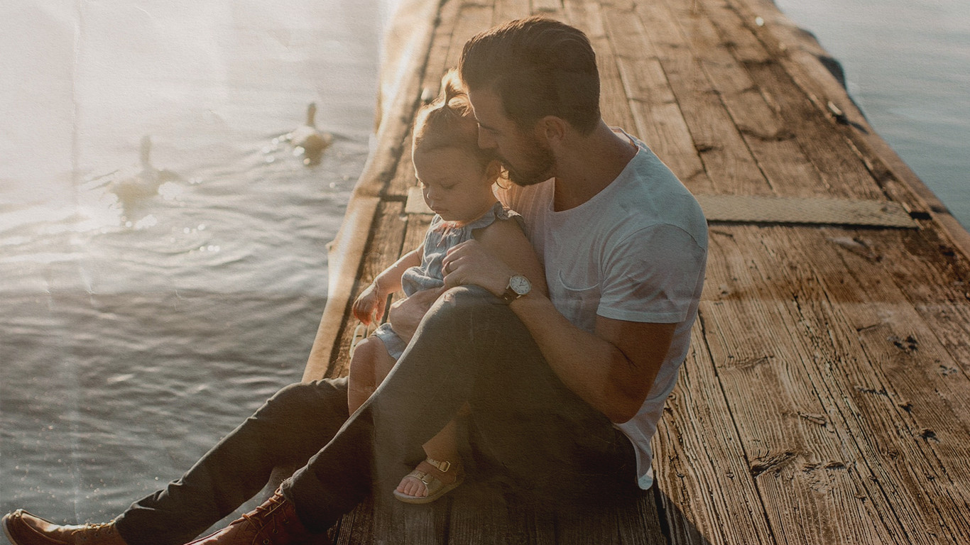 Father and Daughter on Dock in LA